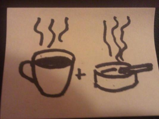 And obviously coffee and cigarette have to follow